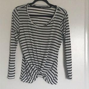 Socialite black and white striped tee